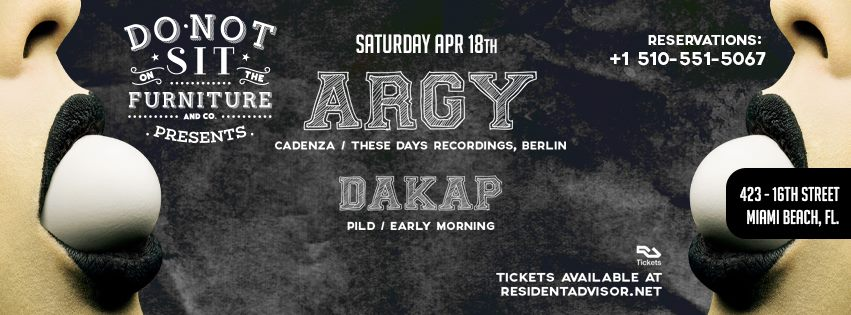 friday night will have been in full force and dont expect this to stop when argy steps up on saturday night a regular on labels like cadenza cocoon cadenza furniture