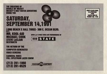 808 State Flyer with Lineup 1991