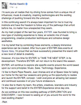 Richie Hawtin's Statement on Facebook