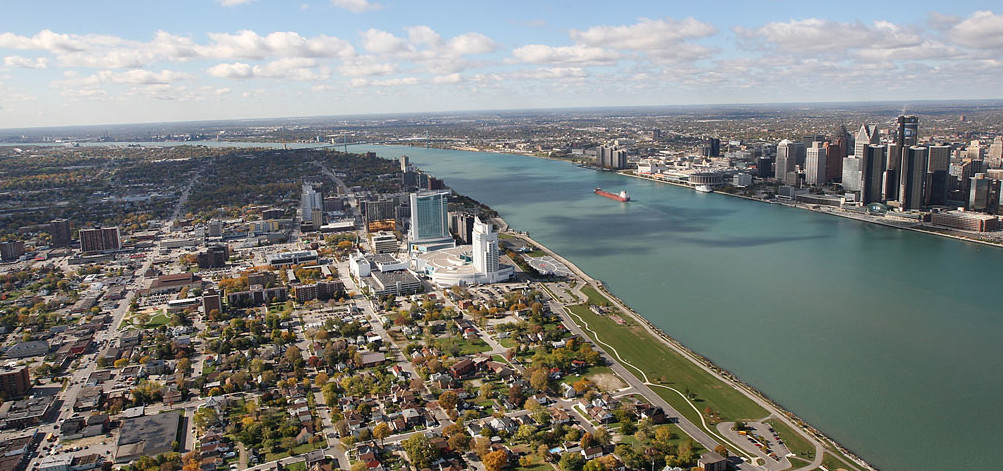 The Detroit River separates the Motor City from Windsor, Canada