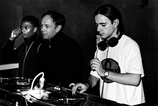 Detroit Jeff Mills, Dimitri Hegemann, and French DJ Laurent Garnier at Tresor