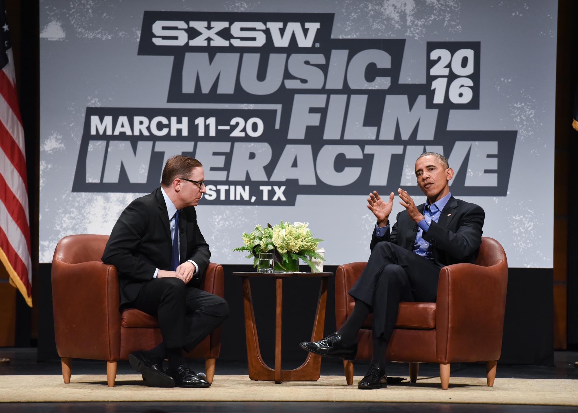 President Obama speaks with Evan Smith, CEO and Editor in Chief of the Texas Tribune, as part of the SXSW Interactive Keynote Conversation at The long Center on Friday, March 11, 2016.  Erika Rich for American-Statesman