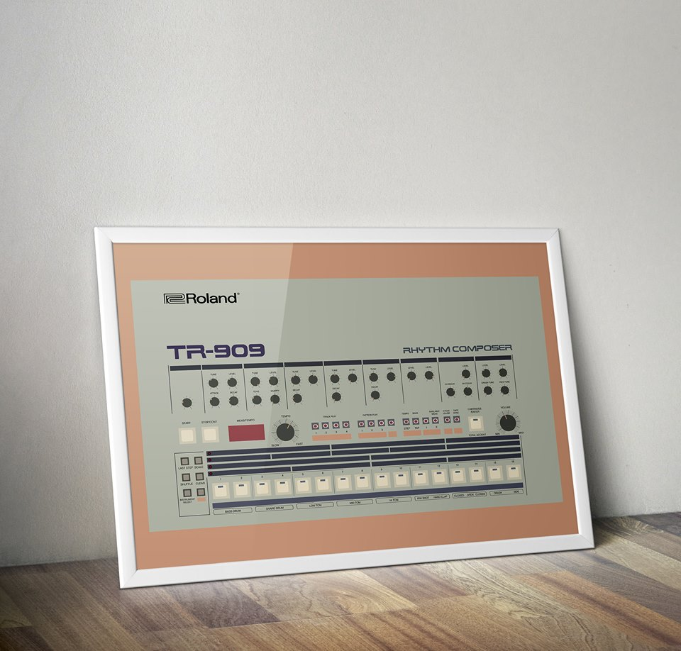 Roland TR-909 (A2 Print)