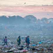 A vast amount of trash remains near the Pyramid Stage as Glastonbury Festival comes to an end at Worthy Farm, Somerset. June 29 2015.  (David Hedges/SWNS)