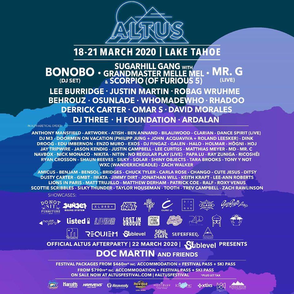 Altus Festival Tahoe Lineup
